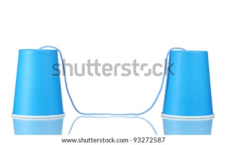 Plastic can phone isolated on white - stock photo