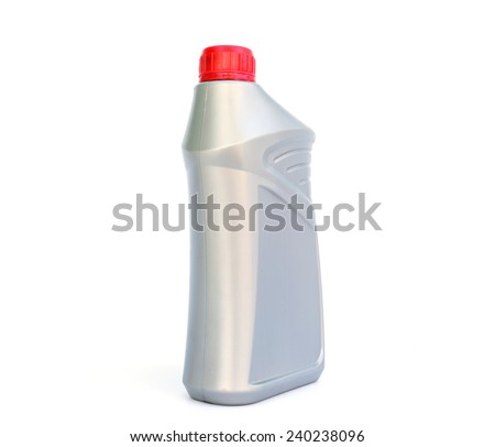 Plastic canister of motor oil isolated on white background  - stock photo
