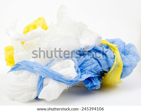 Plastic carrier bags on white background - stock photo