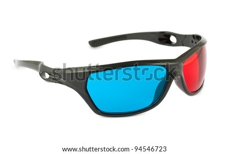Plastic cinema 3D glasses isolated on white background - stock photo