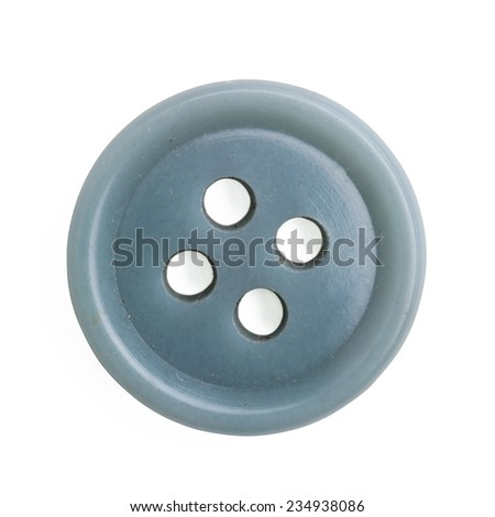 Plastic cloth button closeup on white background