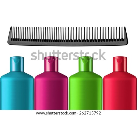 Plastic colorful bottles shampoo and black comb isolated on white background - stock photo