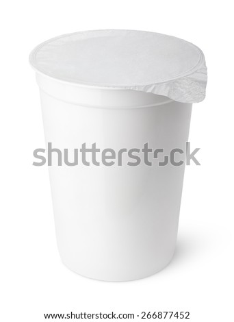 Plastic container for dairy foods with foil lid isolated on white