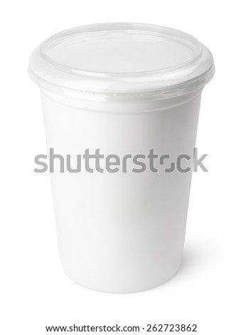 Plastic container for dairy foods with transparent lid isolated on white - stock photo