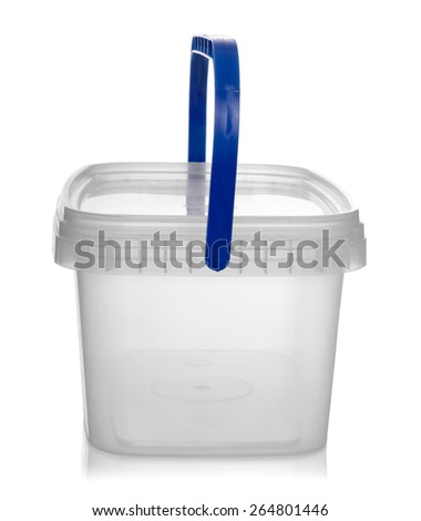 Plastic container for foodstuffs, isolated on white background. - stock photo