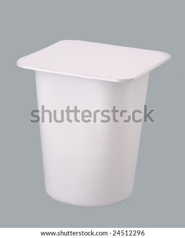 plastic container for yogurt, isolated on gray background.