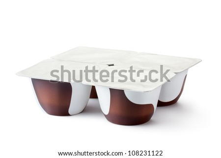 Plastic containers for dairy chocolate products. Isolated on a white. - stock photo