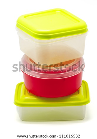 Plastic containers for food  on white background - stock photo
