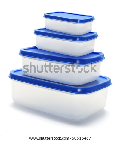 Plastic Containers on Isolated White Background - stock photo