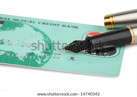 Plastic credit card for ATM - stock photo