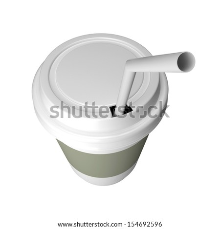 Plastic cup of coffee, with a lid. 3d render illustration - stock photo