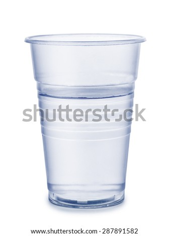 Plastic cup of water isolated on white - stock photo