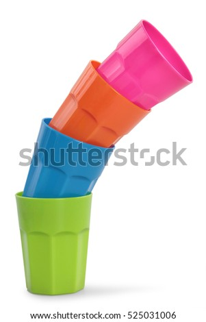 plastic cups isolated on white background