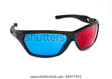Plastic 3D glasses isolated on white background with clipping path - stock photo