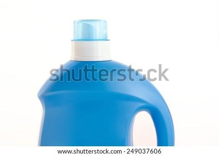 Plastic detergent bottle on white background. - stock photo