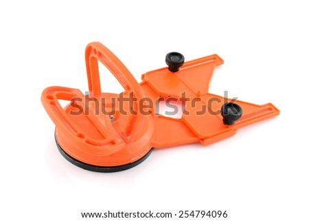 Plastic Drill Guide with Suction Cup for Hole Saw and Core Drill Bits on white background - stock photo