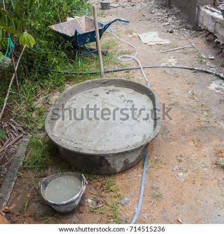 plastic drum preparation mixer cement to the plastering cement at fence wall