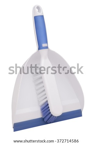 Plastic dustpan and brush isolated on white background
