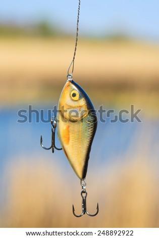 Plastic fishing lure (wobbler) - stock photo