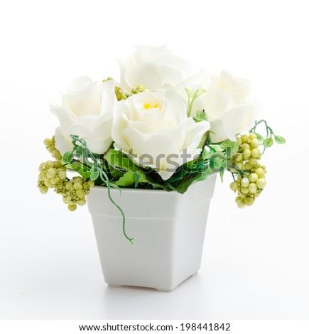 Plastic flower vase isolated white background - stock photo