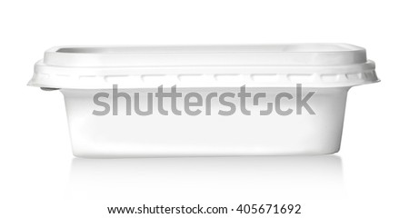Plastic food box isolated on white background with clipping path