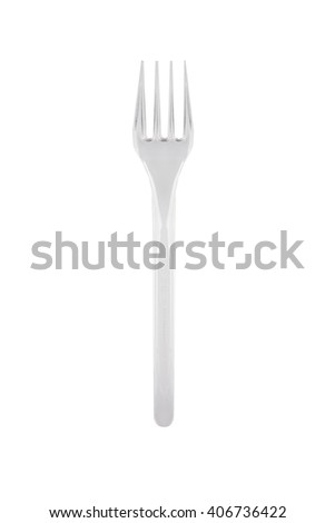 plastic fork isolated on white background.