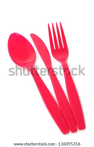 plastic fork, spoon and knife isolated on white background - stock photo