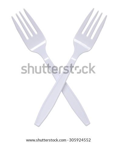 plastic forks on white background - stock photo