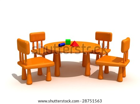 Plastic furniture and toys  for kids - stock photo