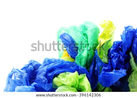 Plastic garbage bags on a white background - stock photo