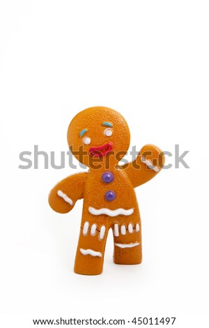 Plastic gingerbread man isolated on white background - stock photo