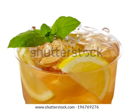 Plastic glass of lemon ice tea isolated on white background - stock photo