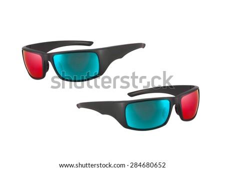 plastic glasses isolated on white - stock photo