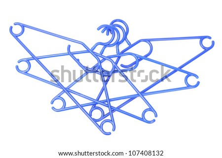 plastic hangers isolated on white