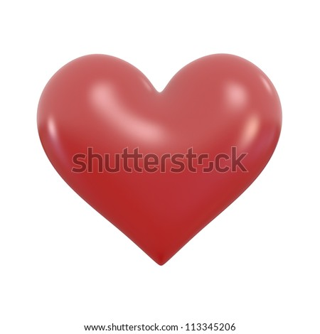 Plastic Heart - High quality Render with Clipping Path - stock photo
