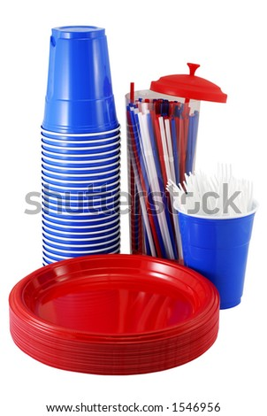 Plastic items for a picnic - stock photo