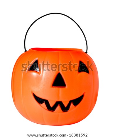 Plastic Jack o lantern isolated on white - stock photo