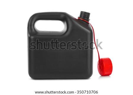 Plastic jerrycan isolated on white background - stock photo