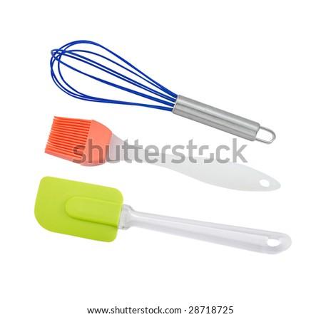 Plastic kitchenware in white background - stock photo