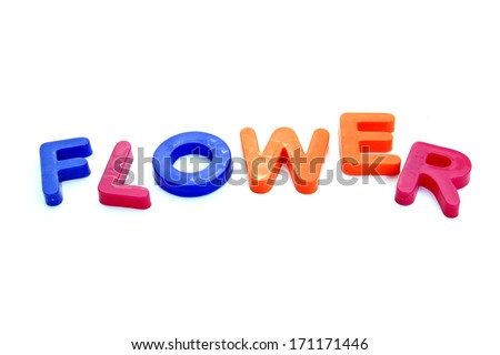 Plastic letters forming word FLOWER isolated on the white background