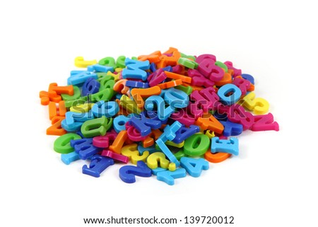 plastic letters isolated on the white background