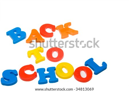 Plastic letters that spell out Back to School. - stock photo