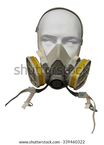 Plastic mannequin wearing protective dust mask with valve isolated on white - stock photo