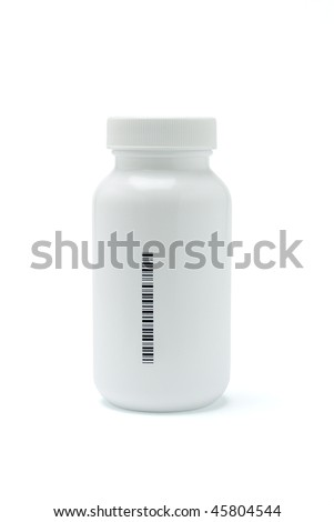 Plastic medicine bottle with bar code printed on the side (bar code is randomly created) - stock photo