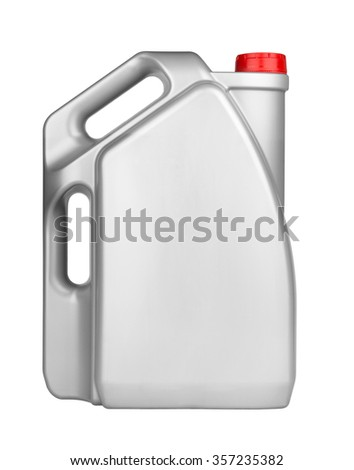 Plastic motor oil canister isolated on white  - stock photo