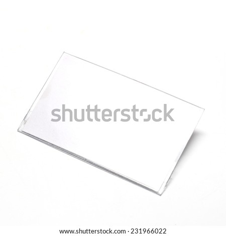 plastic name tag on a white background - stock photo
