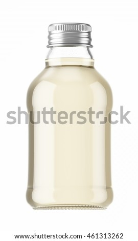 Plastic or glass small bottle isolated on white background. 3D Mock up for your design. Oil, cosmetics, beverage, alcohol, water.