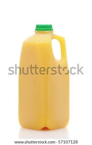 Plastic orange juice bottle isolated over white background with reflection - stock photo