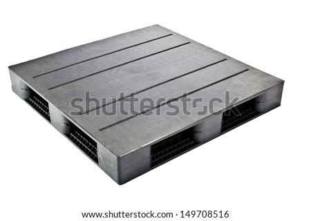 plastic pallet black color on white background  - stock photo