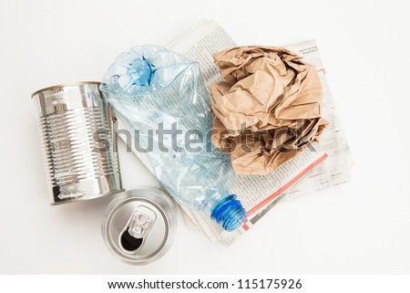 Plastic paper and mteallic waste for recycling - stock photo